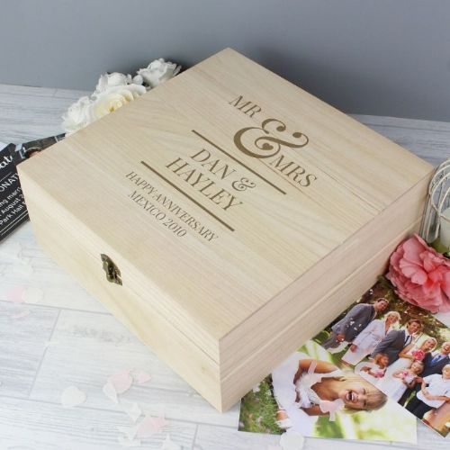 Mr & Mrs Large Wooden Keepsake Box